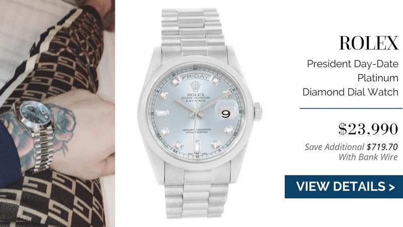 Rolex President Day-Date Platinum Diamond Dial Watch