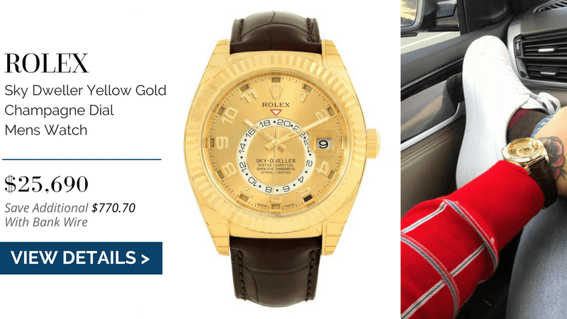 Rolex Sky Dweller Yellow Gold Champagne Dial Mens Watch