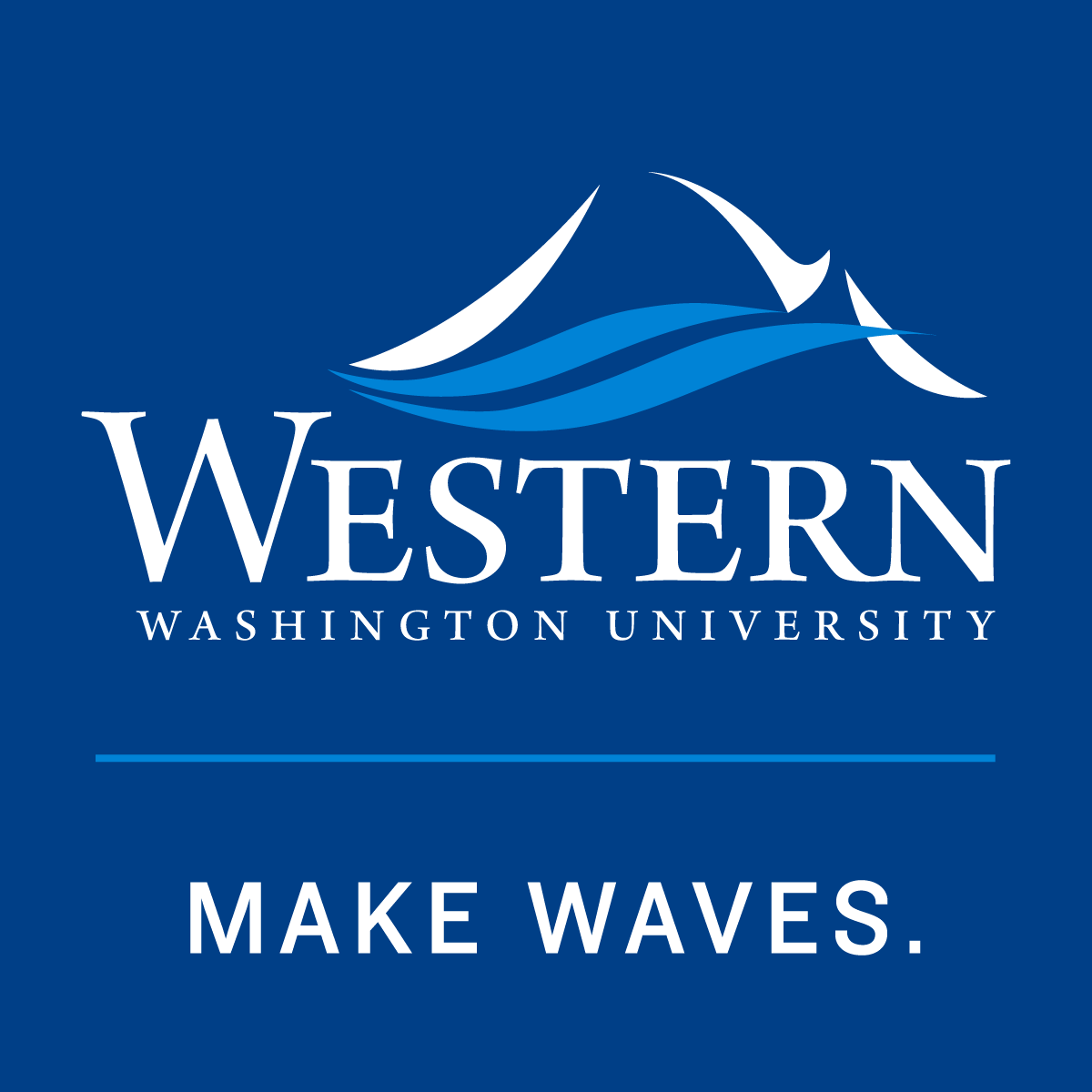 "WWU's traditional mountain and bay logo with the words ""make waves"" underneath"
