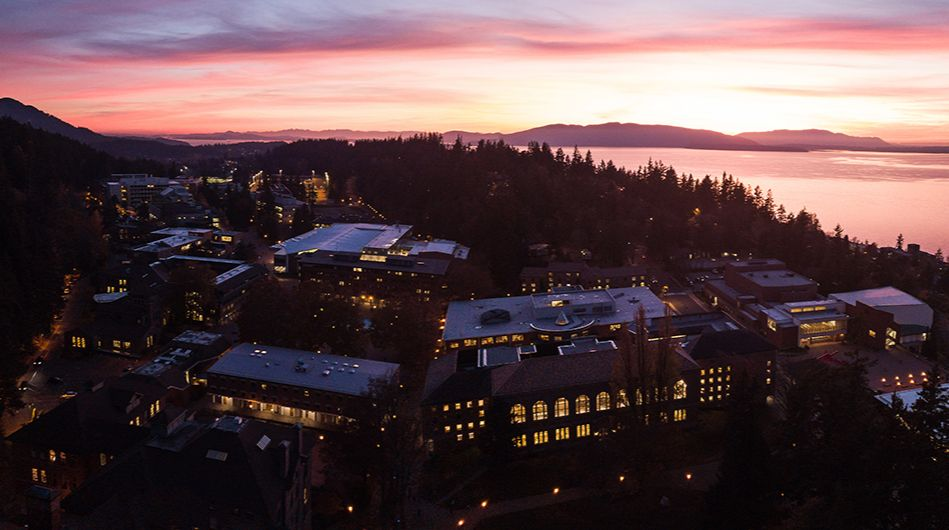 Aerial view of campus at sunset