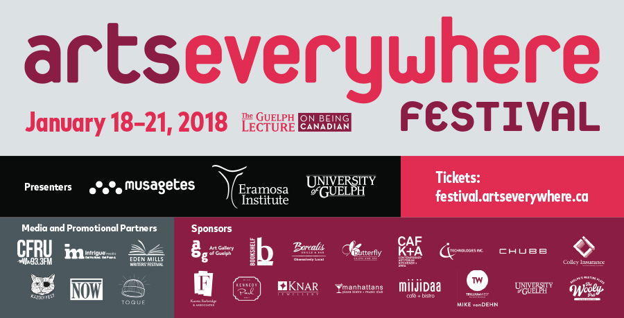 Poster for the ArtsEverywhere festival, in pink and purple with the list of sponsors and the dates, January 18-21 2018