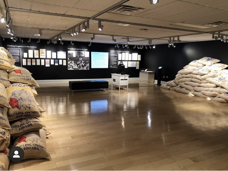 A wide-shot photo of the exhibit space, which has stacks of potato sacks to the left and right, and photos and documents lit by gallery lights on the far wall, straight ahead.