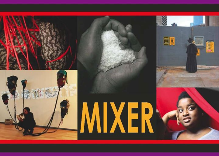 "Image is the poster for MIXER. The border on the top and bottom is a purple horizontal line, a black line, and a red line. The image is made up of five art pieces and the word ""MIXER"" in yellow capital letter in the middle bottom image. The image to the upper left is what appears to be a patterned tight on a limb, with red string tangled around it. The top middle image is a pair of hands with white rice held in between them in the shape of a heart. The middle right image is a dark grey wall to a construction site, with several yellow and grey flyers attached to it. A person in a long black cape and black hat stands facing the wall. The bottom right image is a dark skinned person's face looking out and to the right. They have their hand on their face on the left, and a red band crosses their face slightly, horizontally, on the right. The bottom left image is a person wearing black crouching in the middle of the image, with five strings attached to balloon-like pieces of material floating above them. They are reading a book. There are white pieces of paper on a cream-coloured wall behind them."