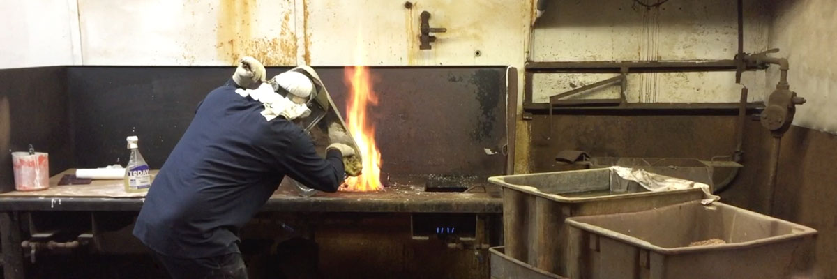 Dan Moore at the tinning forge