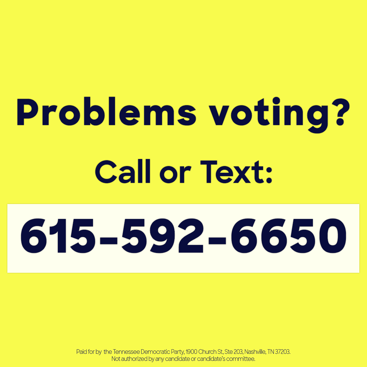 Problems Voting - call or text 615-592-6650