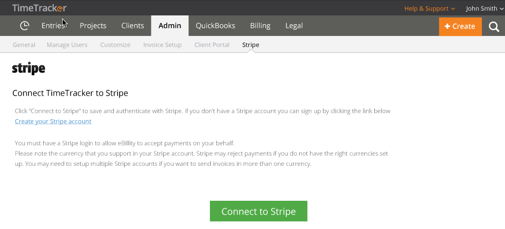 sign up for Stripe