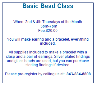 Basic Bead Class 2nd and 4th Thursday 5pm-7pm