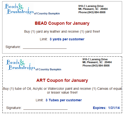 Coupons for January 2014