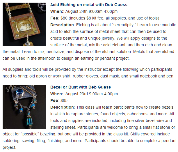 Upcoming August Classes: Acid Etching on Metal and Bezel or Bust