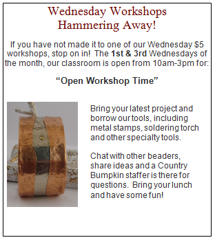 Wednesday Workshops 1st and 3rd Wednesdays 10am-3pm