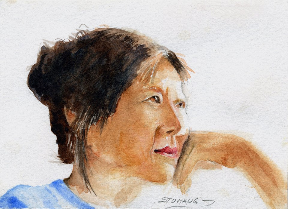 Feeling Lin, Watercolor, Suzanne Stuhaug