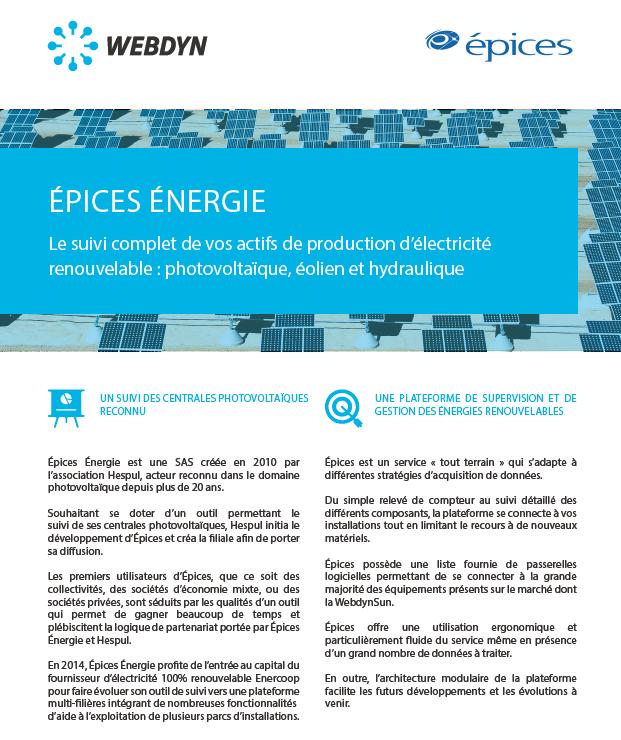Success Story Epices Energie avec la WebdynSunPM