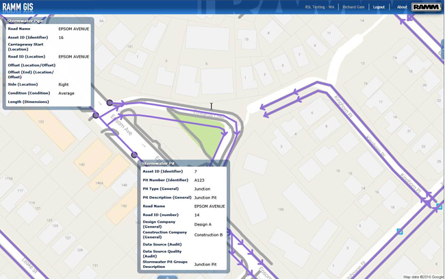 View Stormwater Assets on the RAMM GIS Map