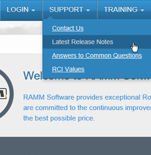 RAMM Release Notes