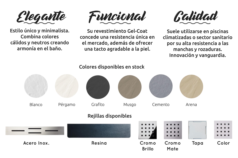 Distribución de platos de ducha Doccia - Saneamientos Dimasa