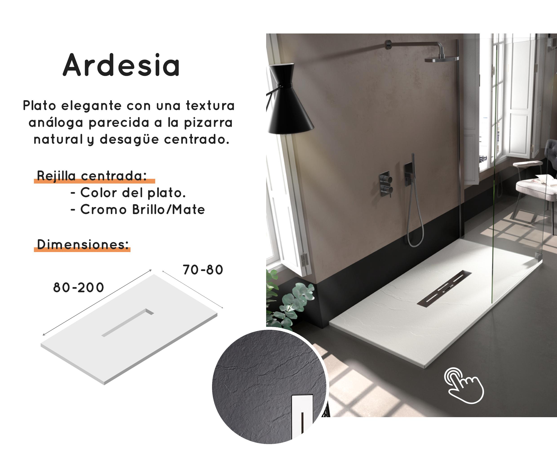 Distribución de platos de ducha Doccia Ardesia - Saneamientos Dimasa