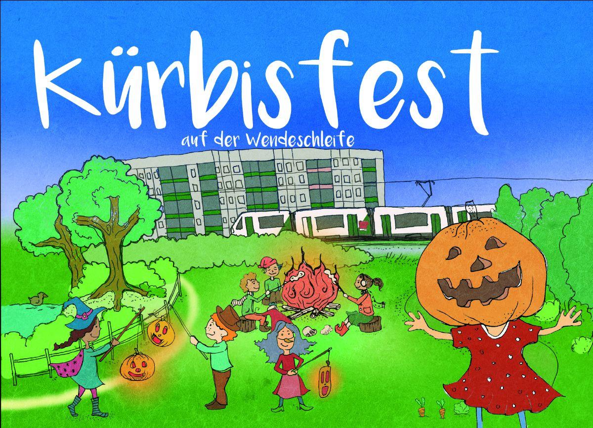 Text: Kürbisfest an der Wendeschleife | Zeichnung: Wiese, Lagerfeuer, Kinder mit Kürbis-Lampions