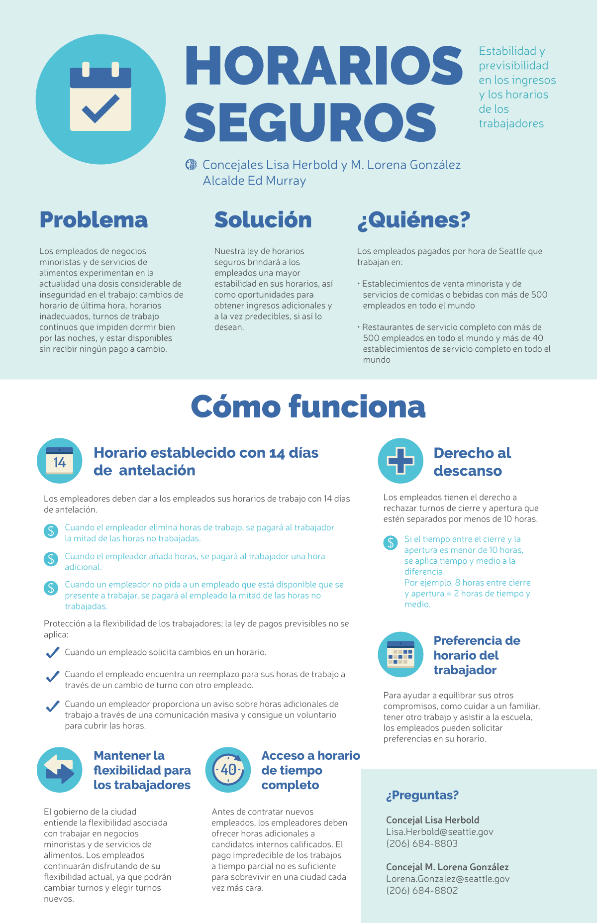 Secure Scheduling Infographic - Spanish