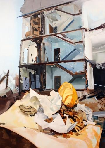 """image credit: Kastner, Demolition, 84""""x 60"""", oil on canvas, 2012."""
