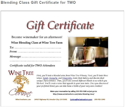 Gift Certificate for Two ~ Wine Blending Class