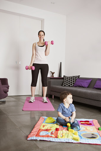 postpartum fitness -- exercising at home