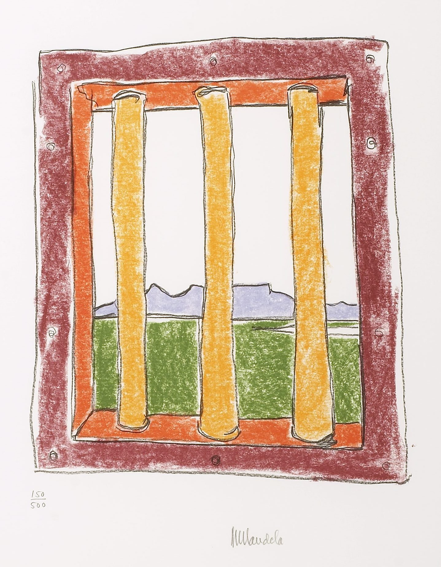 A colourful pastel drawing of a view through a barred window.