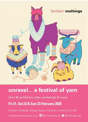 A postcard advertising Unravel 2020 at Farnham Maltings.