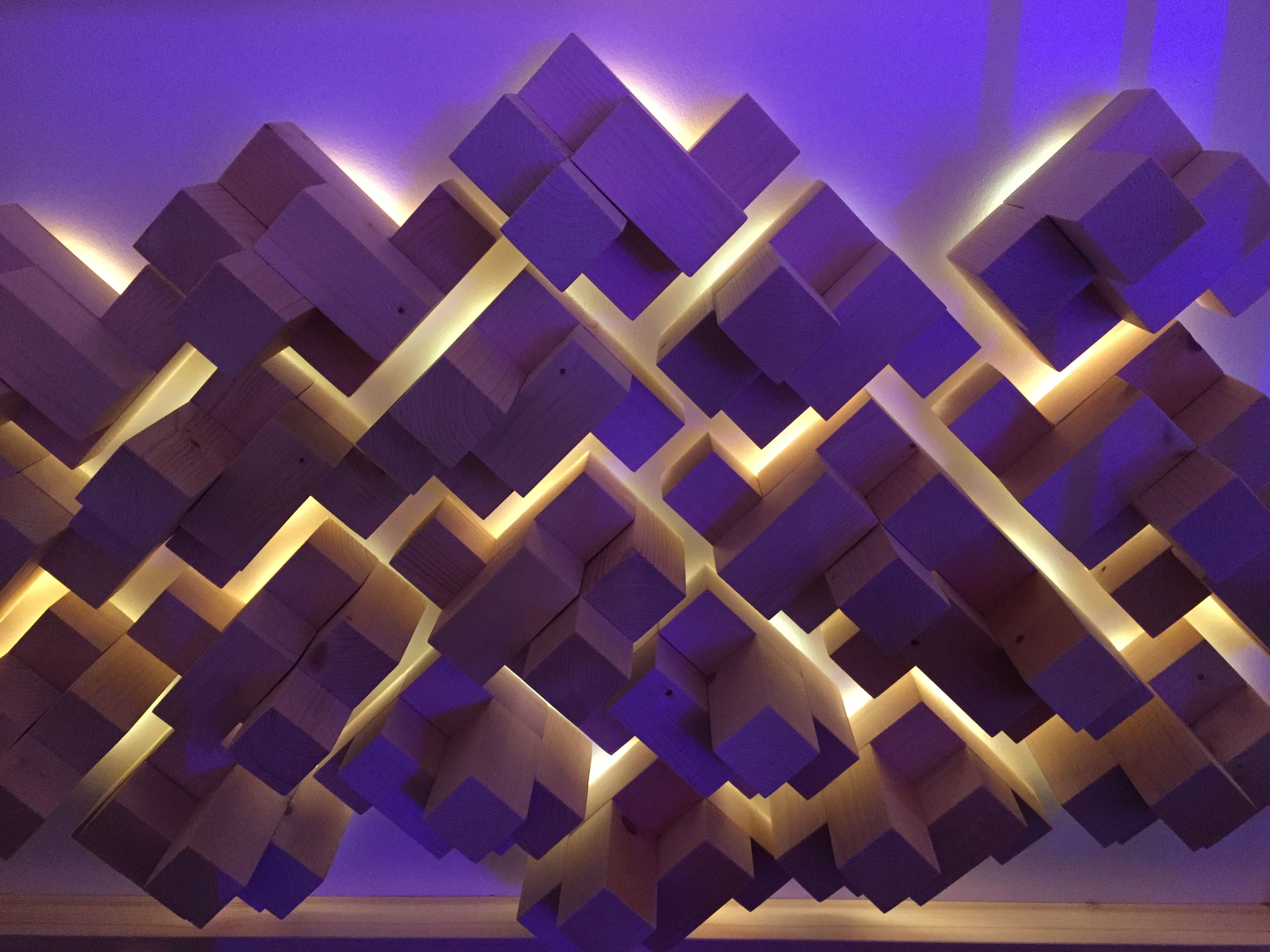 Geometric pattern of block, lit from behind.