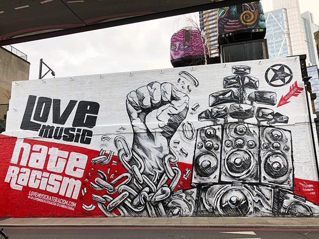Love Music Hate Racism mural at Village Underground, Shoreditch, created by graffiti artist Snub 23 to promote Stand up to Racism's march on 17 March