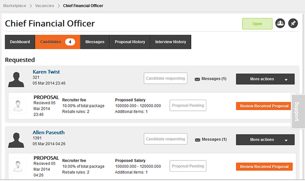 New Candidates Tab for Recruiters