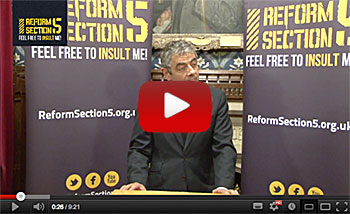 Comedian Rowan Atkinson backs the RS5 campaign