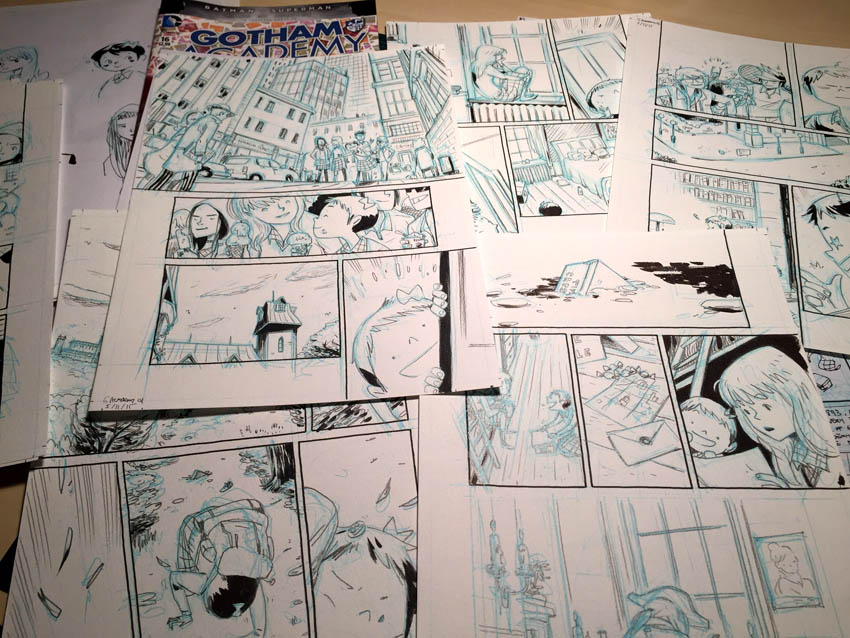 "Pencils and inks for the Gotham Academy story ""Boring Sundays"". Photo: Ken Niimura"