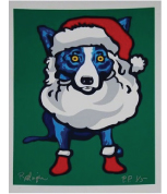 """Ho Ho Ho"" Special Edition Blue Dog Silk Screen Print by famed American artist, George Rodrigue"