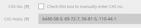 CAS No. Checkbox - Cosmetri Software