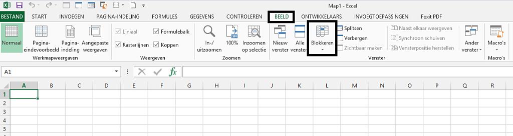 Rijen vastzetten Excel
