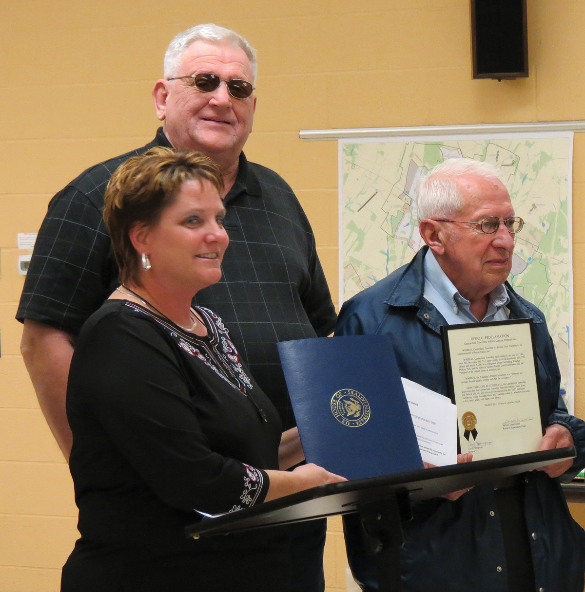 John Horner receiving a letter of congratulations from the office of Rep. Scott Perry