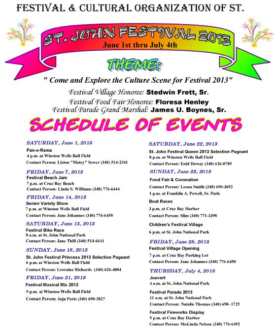 st john carnival 2013 schedule