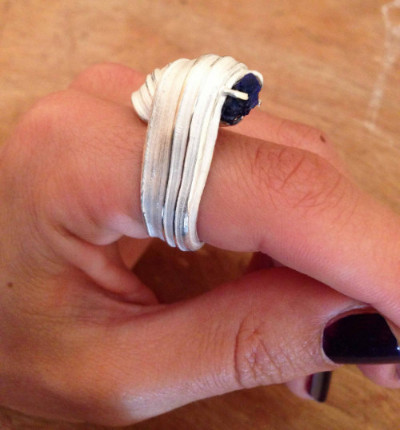 """Marion Lebouteiller  - Azurite drusy ring at summer exhibition """"Beyond the blue"""" at Gill Wing Jewellery London"""