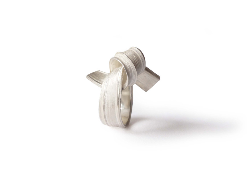 Marion Lebouteiller  -  Absolu sculptural ring - recycled sterling silver.