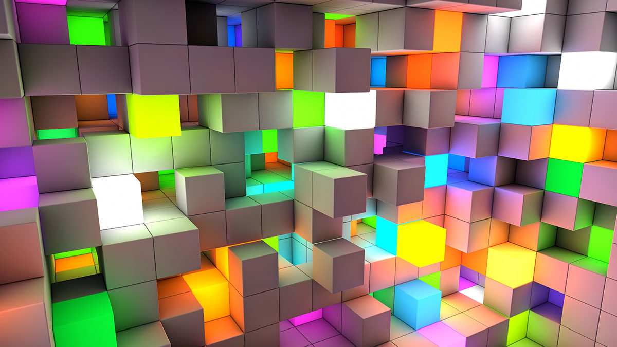 Photo of multi-coloured cubes in a three dimensional space