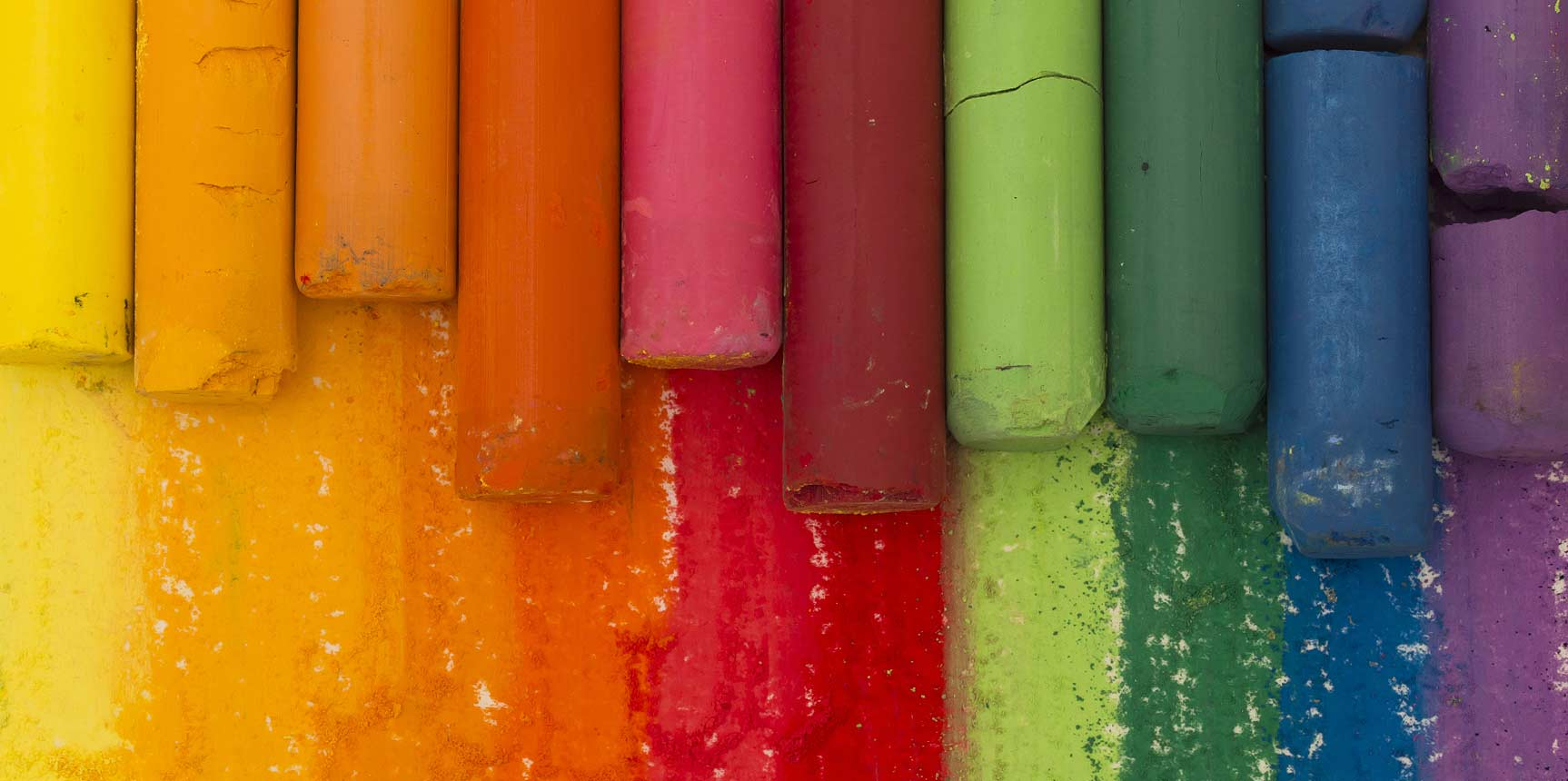 Photo of exterior of multiple coloured chalk