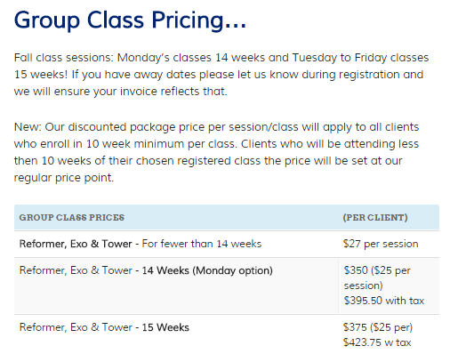 Class Pricing