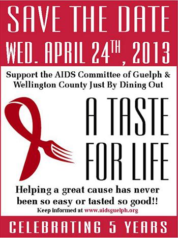 5th Annual - A Taste For Life WED. APR. 24