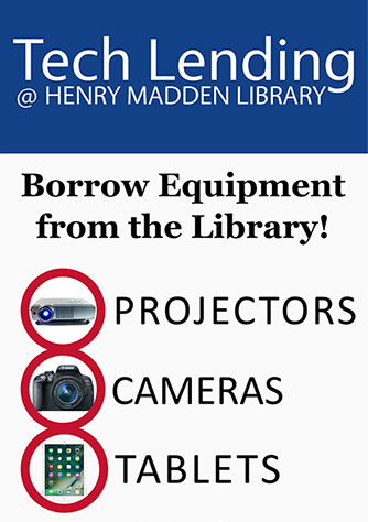 Decorative: Tech Lending at Henry Madden Library