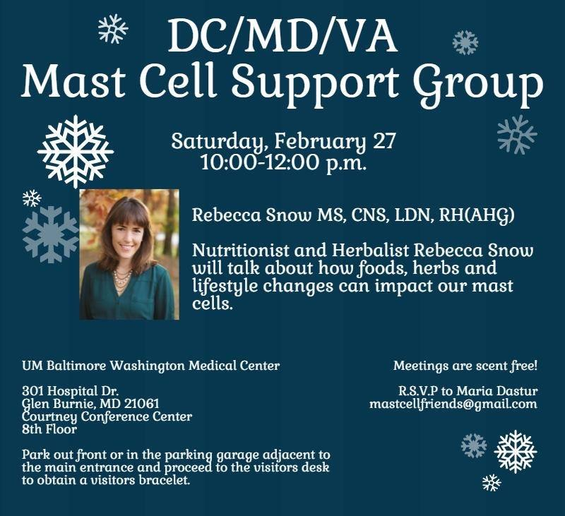 DC/VA Mast Cell Support Group Meeting with Rebecca Snow!
