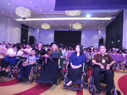 Wheelchair users attending the historic event