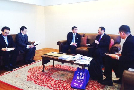 Courtesy visit to H.E. Ambassador Sihasak Phuangketkeow at the Royal Thai Embassy in Tokyo