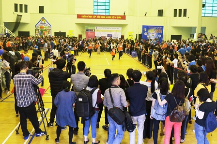 Persons with autism and their families and supporters taking part in the first ever Vietnam Autism Friendship Games