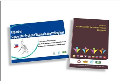 Report on Support for Typhoon Victims in the Philippines and Report on Second ASEAN Autism Network Congress