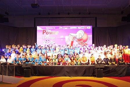 Group photo of drum performers with diverse disabilities from 10 ASEAN countries and Japan